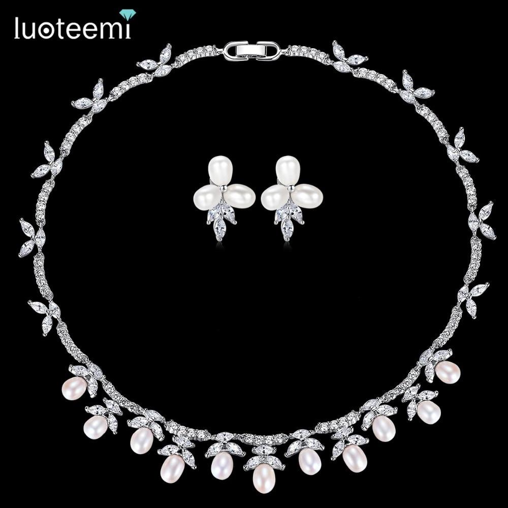 LUOTEEMI couleur argent collier de perles d'eau douce collier ras du cou bijoux de mariage ensembles accessoires réglage Invisible CZ pour Valentin