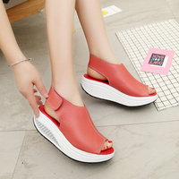 3e008a25c8 Bigsweety Summer Women Sandals Platform Wedges Sandals Leather Swing Peep  Toe Casual Shoes Women Walk Shoes