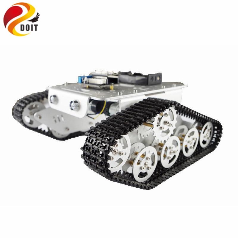 все цены на DOIT RC Metal Robot Tank Chaiss T300 Wireless WiFi Car with ESP8266 Development Board Kit Remote Control онлайн