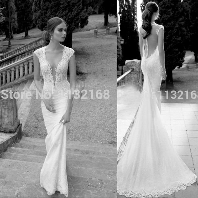 Simple Backless White Mermaid Satin Wedding Dresses Clevagewedding Reception Dressbridal GownsCheap Dress