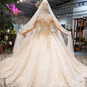 Image 1 - AIJINGYU שנהב שמלת שמלות שנזן בציר 3D יוקרה כלה תחרה מימי הביניים ייחודי שמלת כלה זולה שמלות ליד לי