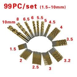 99 pçs/set Torção Conjunto Broca Serra HSS Conjunto de Alta Aço Revestido Ferramenta S Para Madeira Broca Ferramenta 1.5-10mm Para aparafusadora sem fio