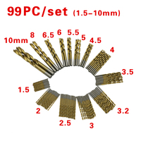 Free Shipping Newest 99pcs Set Titanium Coated HSS High Speed Steel Drill Bit Set Tool 1