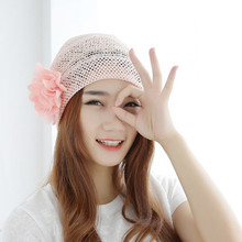 Womens Flower Mesh Hats Summer Autumn Hollow Breathable Cap Beanie Turban Head Wrap Lace Hat Cap