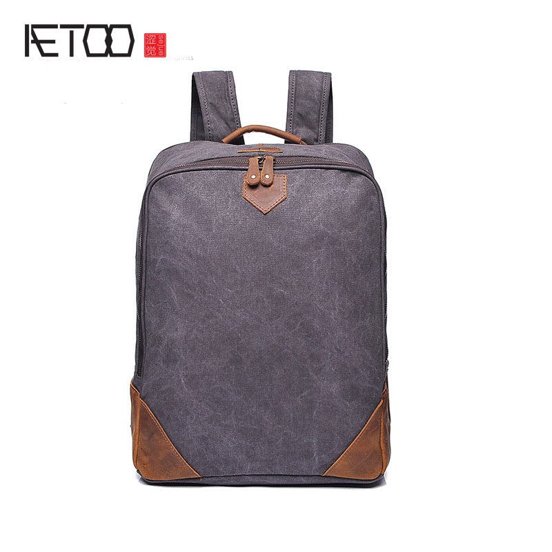 AETOO original models men bag shoulder bag retro men canvas backpack with the first layer of leather bag factory direct men s leather oblique cross chest packs of the first layer of leather deer pattern men s shoulder bag korean fashion men s bag