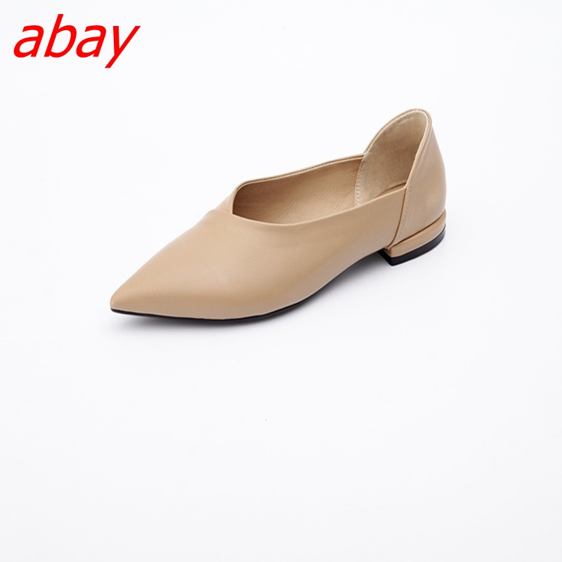 abay 2018 new leather retro style V word fashion professional womens shoes ...