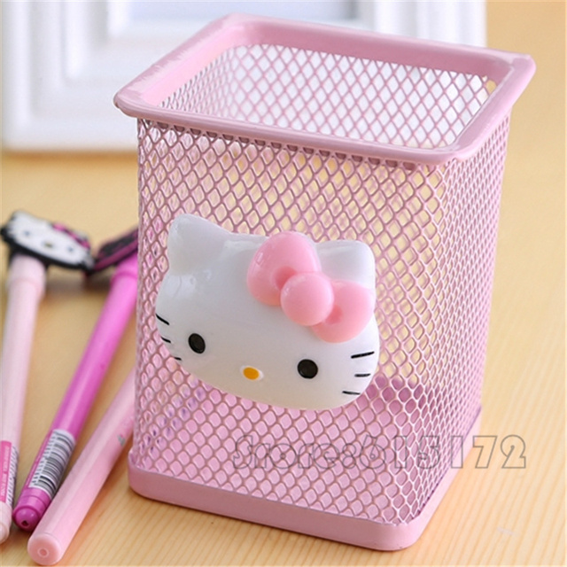 Office Accessories O Kitty Pen Holder Pencil Kawaii School Supplies Desk Organizer Cute Korean