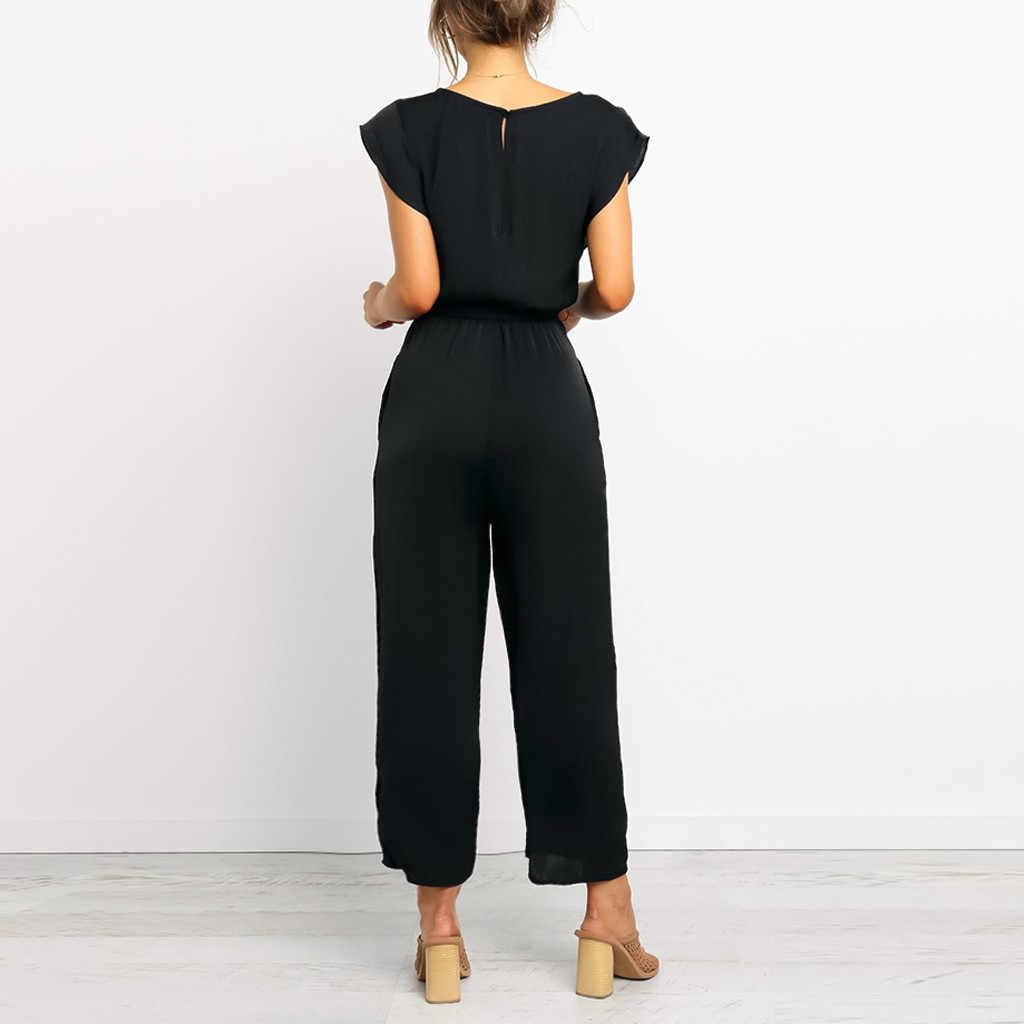 Womail สตรีชุดราตรี elegant เข็มขัดผ้าพันคอแขนสั้น Jumpsuit Bodysuit V คอ Playsuit mono mujer largo elegante