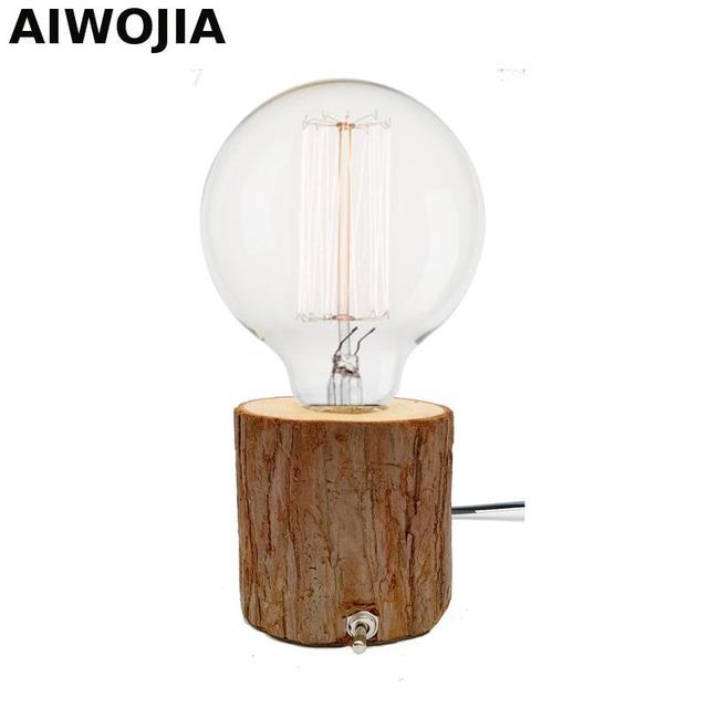 Creative Retro E27 Solid Wood Table Lamp Diy Wooden Base Luminaria De Mesa Led Desk
