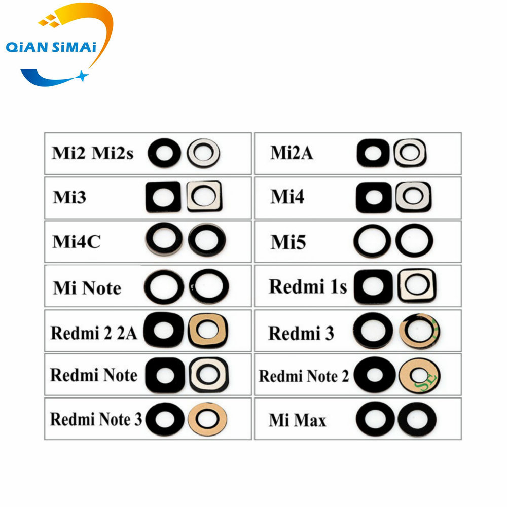 QiAN SiMAi New Rear Camera Glass For Xiaomi Mi2 2s M2A Mi3 Mi4 Mi4C Mi4s Mi5 Mi5s Mi5X Max Note Redmi 1s 2 2a 3 3s Note 2 3 4 4X