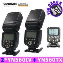 2 unid Yongnuo YN560IV 560IV Speedlite + YN560-TX Flash inalámbrico controlador para Canon DSLR cámaras 5D 60D 6D 7D 60D 5D3