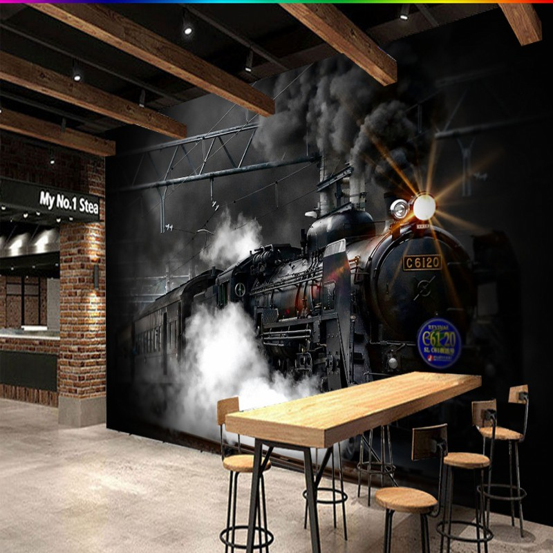 Photo Wallpaper Retro Nostalgic Black White Steam Train Mural Custom Cafe  Bar Mural Background Wall Wallpaper In Wallpapers From Home Improvement On  ... Part 94