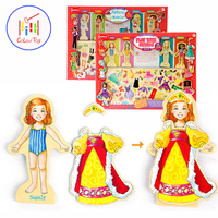Kids Magnetic Wood Toy Dressing Changing Jigsaw Toys Girls Montessori Educational Wooden Child Puzzle Game House Play Set 63pcs