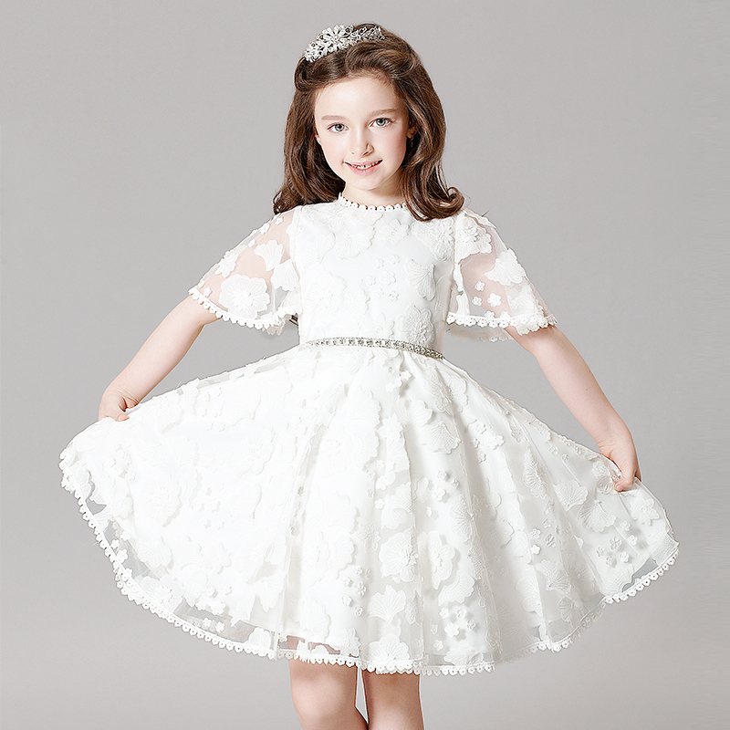 цена на O Neck White Lace Girls Wedding Dresses Short Sleeves Cute Princess Dresses Summer 2017 New Knee-Length Children's Clothes P18
