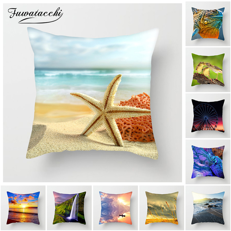 Fuwatacchi Ocean Beach Cushion Cover River Sunset Tree Flower Throw Pillow Car Home Decor Decoration Sofa