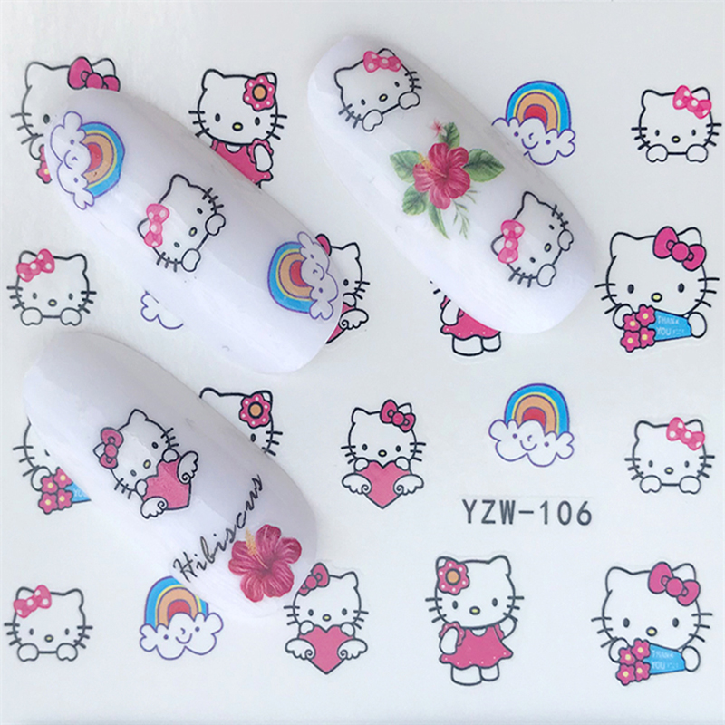 Image 2 - Hello Kitty  Mickey Mouse Decals Stickers Wrap Nails Cartoon Cute Nail Sticker Tips Decoration Nail Art Water Transfer Sticker-in Stickers & Decals from Beauty & Health