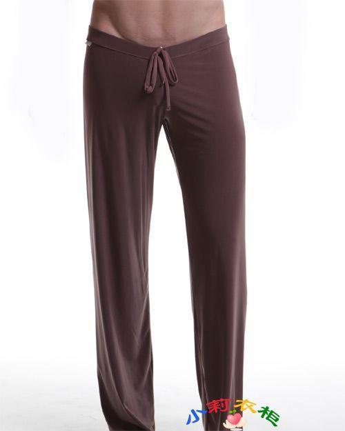 Бесплатная доставка Мужской вискоза брюки брюки дома отдыха брюки гладкие свободные случайные упругие брюки мужчины пижамные штаны