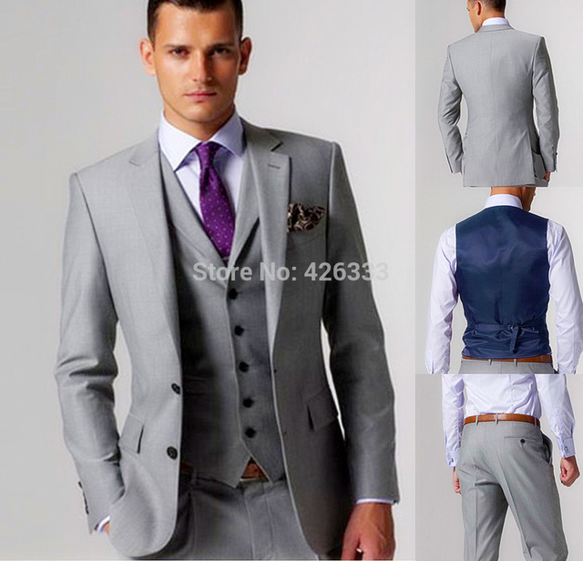 46b8a85e701e 2015 High quality Light gray Groom Tuxedos Groomsmen Best Man Men Wedding  Suits Prom/Formal/Bridegroom Suit (Jacket+Pants+Vest+T