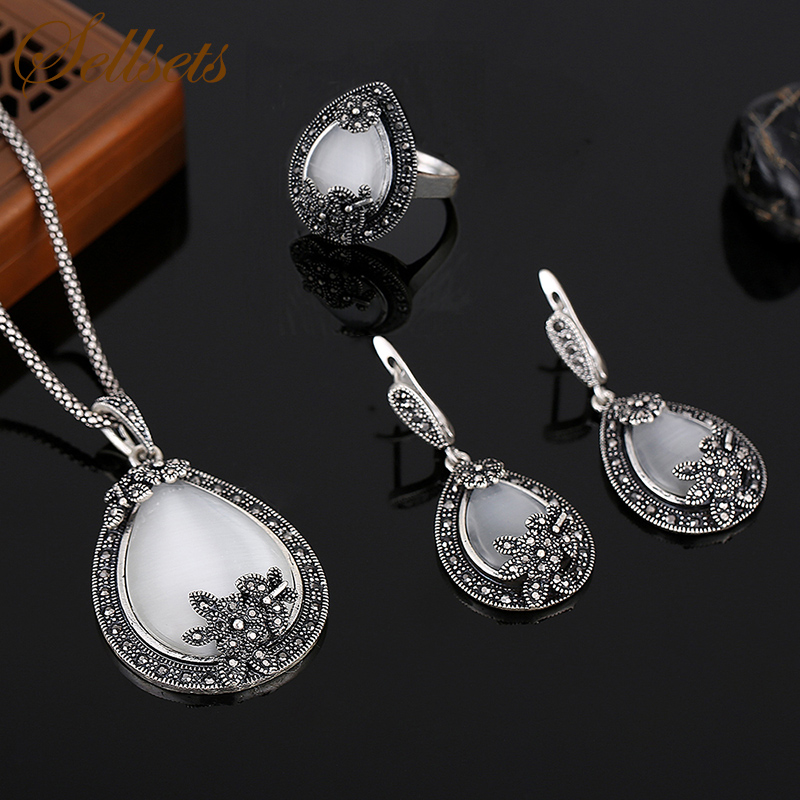 Sellsets Vintage Silver Color Jewellery Water Drop Shape Opal Jewelry Sets Crystal And Natural Stone Necklace Earrings Ring Set 1 pair water drop shape opal crystal earrings dangle earrings gem stone jewelry druzy er307