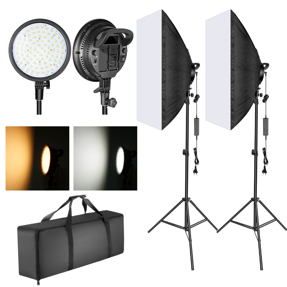 Neewer LED Softbox Lighting Kit: 20x28 Inches Softbox, 48W Dimmable 2-color Temperature LED Light Head With Battery Compartment