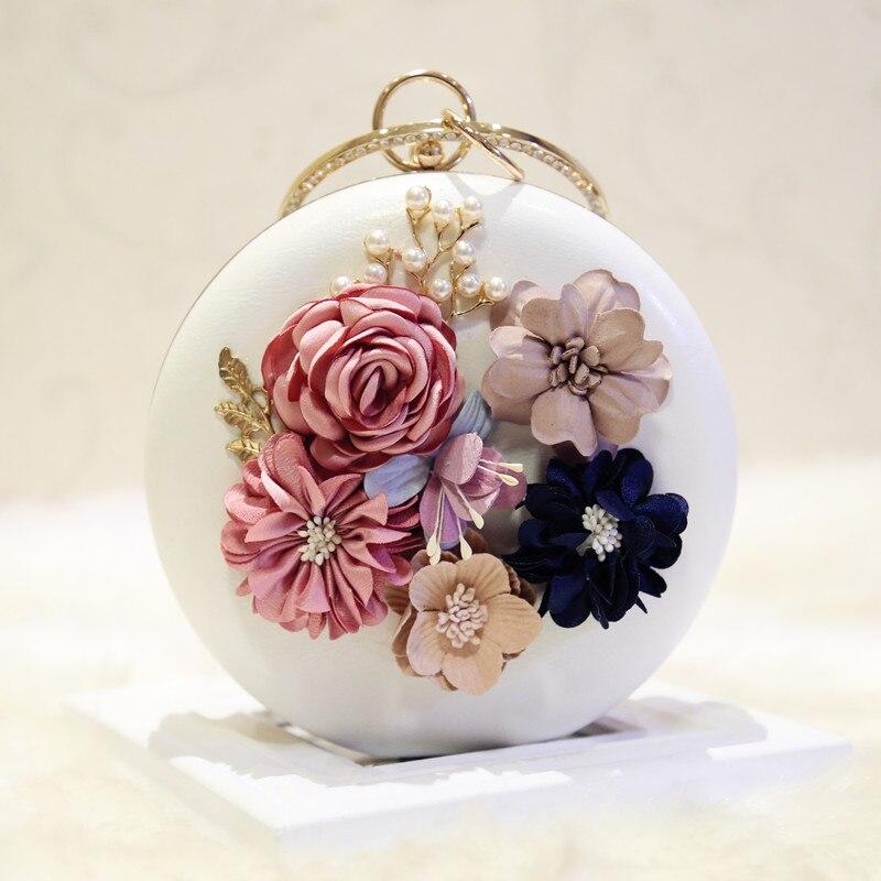 Fashion flower 2018 day clutch mini circle chain banquet bag handbag one shoulder cross body women's handbag spherical bag