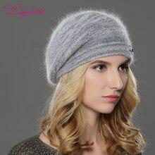 LILIYABAIHE جديد الشتاء النساء قبعة قبعة محبوك الصوف الأنجورا القبعات المرقعة أنيق عصري الديكور قبعة مزدوجة قبعة تدفئة