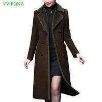 Winter Warm Coat Plus size Women Wool Coat Vintage Long Woolen Coats Thicken Female Overcoat Elegant Women Outerwear 4XL A917