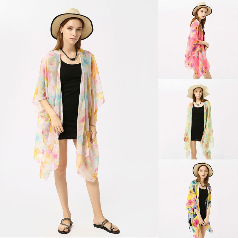 Blouses & Shirts Womens Semi Sheer Summer Chiffon Sunscreen Kimono Cardigan Top Maxi Length Side Split Solid Color Bikini Cover Up Open Front Hal