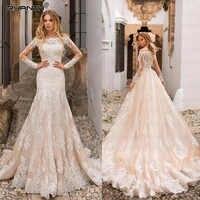 Robe De Mariage Mermaid Wedding Dresses with Detachable Train Romantic Boat Neck Bride Dress 2019 Wedding Gown Vestidos De Noiva