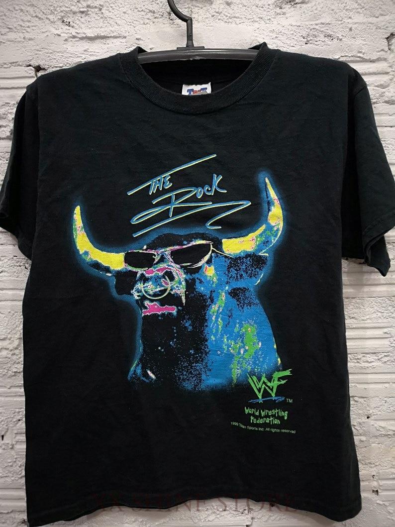 Vintage 90s The Rock WWF Wrestling T-Shirt Men Size L 100% cotton t shirt men women tee(China)
