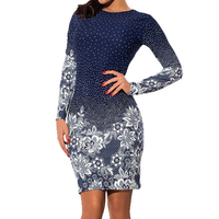 Women Dresses Mini Print Dress Clothes Elegant Long Sleeve Dress Vintage Blue Retro Casual Dress LJ8052C