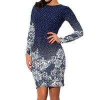 النساء فساتين البسيطة طباعة اللباس ملابس أنيقة طويلة الأكمام اللباس خمر الأزرق الرجعية عارضة اللباس LJ8052C
