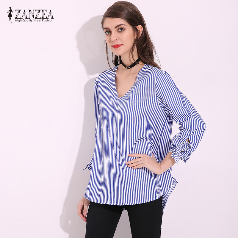 Fashion ZANZEA Women Sexy V Neck Blue Loose Elegant Blouse Shirts Puff Sleeve Long Tops Striped Shirt Plus Size Blusas Femininas