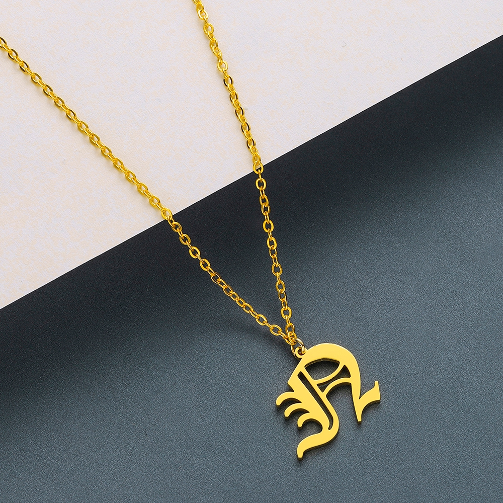 Todorova Old English Custom Capital Initial A-Z Letter Pendant Necklace Men Vintage Font Personalized Necklace Women Jewelry 41
