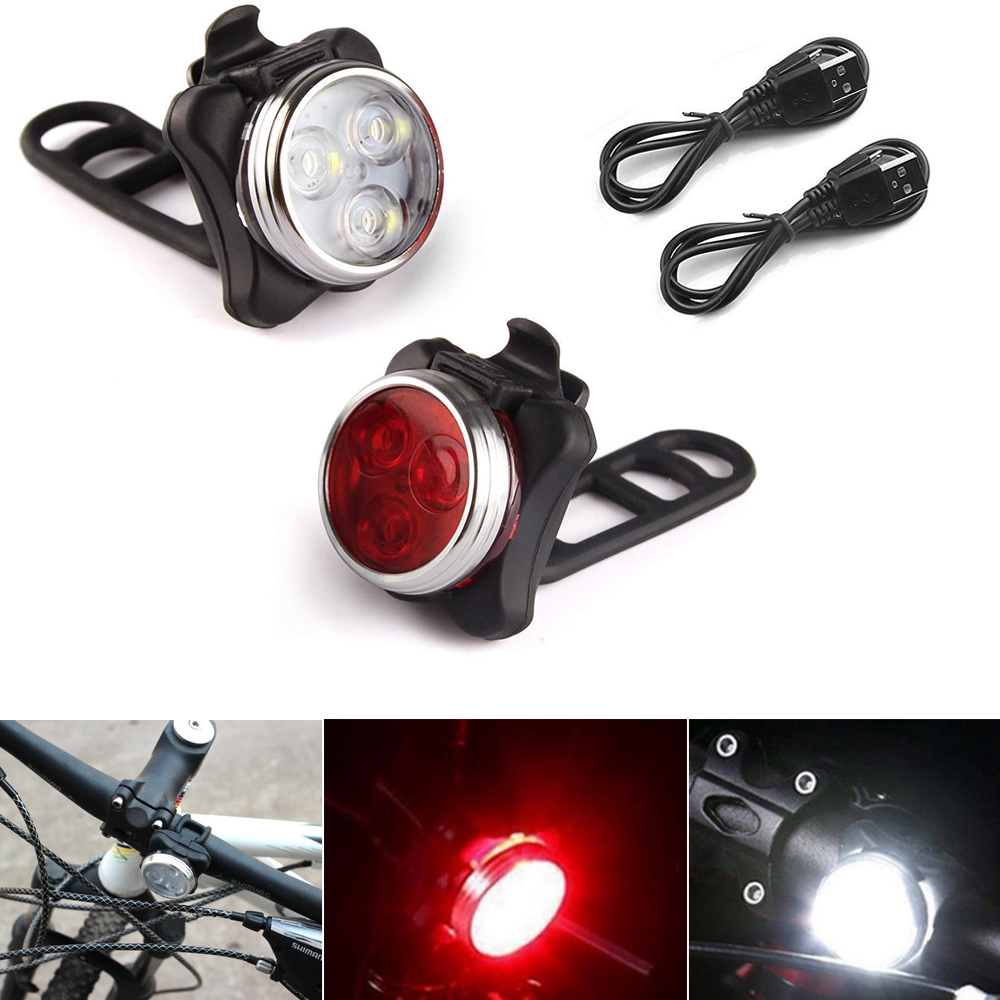 New Fashion 3 LED Head Front Light 4 Modes USB Rechargeable Tail Clip Light Lamp Waterproof  Bicycle Bike Lamp Buitenverlichting