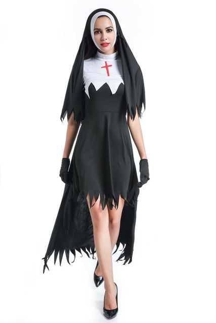 d3f685effcd Черный костюм монахини для женщин Костюм Монахини Хэллоуин монахиня косплэй  священник костюмы костюм священника церкви платья