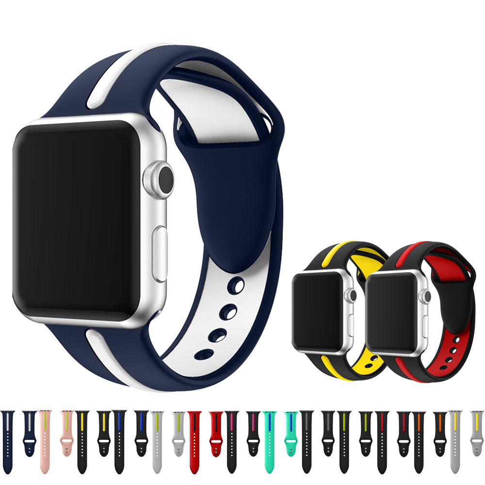Sport Silicone Band Strap for Apple Watch Bands 42mm/38mm for iwatch series 3 2 1 Rubber Watch Strap Bracelet Watchbands black silicone rubber strap for garmin forerunner 910xt gps triathlon watch band for running swim sports watch bands accessories
