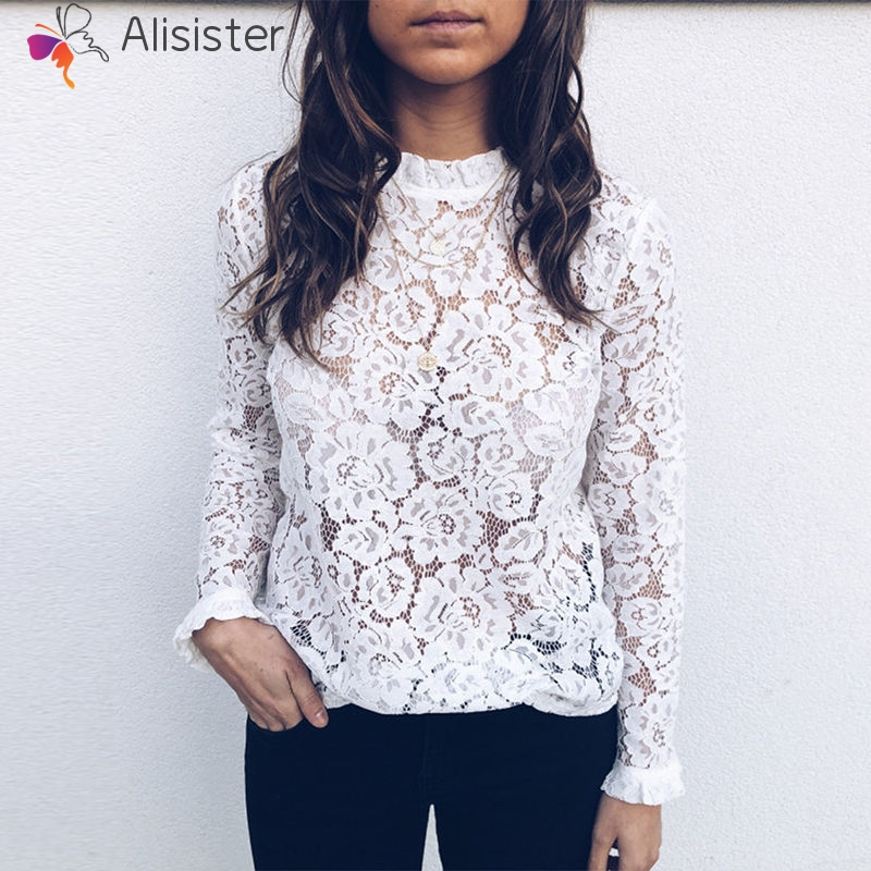 Elegant Sexy Floral Lace   Blouse     Shirt   Women Long Sleeve Tee   Shirts   Female Clothing Spring Brand New Tops   Blouse   White Black
