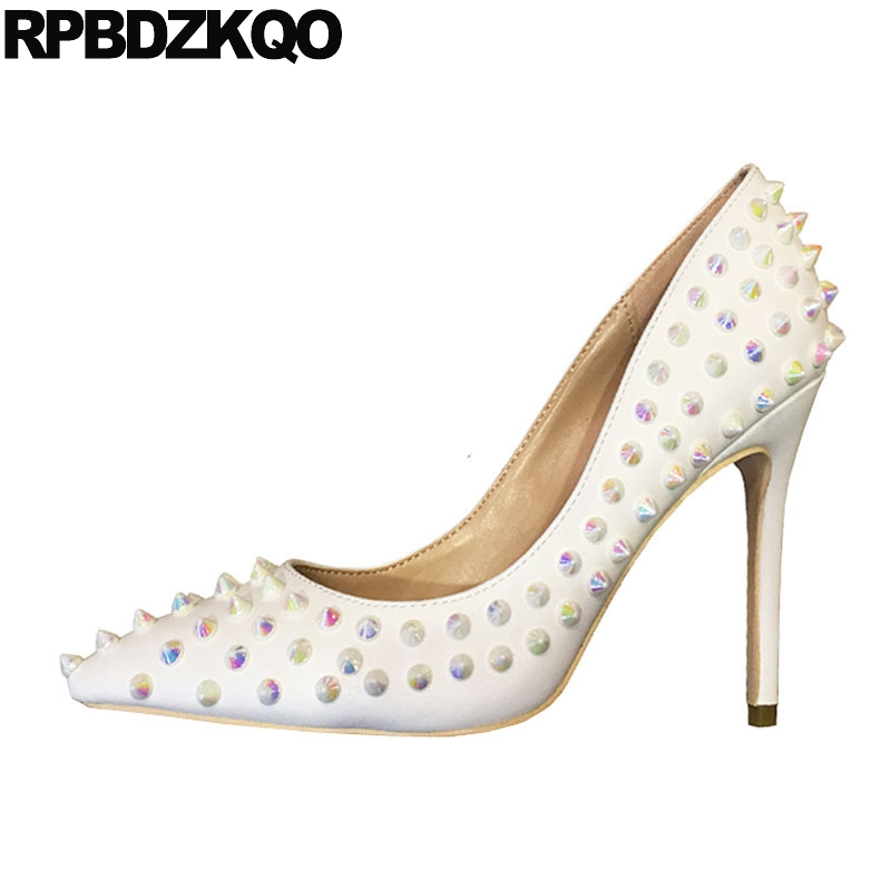 gothic 10 42 sexy white high heels pointed toe plus size ladies catwalk 12cm 5 inch stud pumps 8cm stiletto shoes exotic dancergothic 10 42 sexy white high heels pointed toe plus size ladies catwalk 12cm 5 inch stud pumps 8cm stiletto shoes exotic dancer