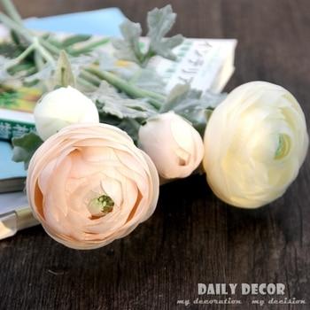 58cm artificial Ranunculus asiaticus flower bundle fake Persian Buttercup silk Tea Rose decorative flowers bouquet free shipping