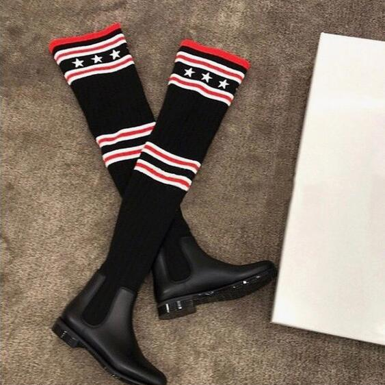 <font><b>2018</b></font> New Fashion Women <font><b>Star</b></font> Sock Boots Round Toe <font><b>Ladies</b></font> <font><b>Sexy</b></font> Chelsea Boots Female Hot Knit Boot Over The Knee Boots Size 40 image