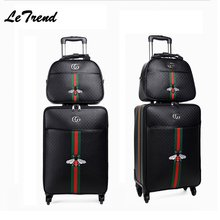 New Fashion 16/20/24 Size 100%PU Rolling Luggage Spinner Brand Travel Suitcase Women Boarding Luggage Carry On Wheels Trunk(China)
