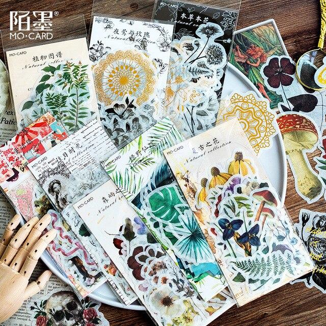 WOKO 60 unds/pack Vintage bronceado calavera flores planta cactus diagrama cuento de hadas Vibes tropicales pegatina DIY Scrapbooking Escolar