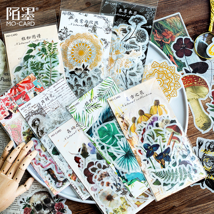 WOKO 60PCS/Pack Vintage Bronzing Skull Flowers Plants Cactus Diagram Fairy Tale Tropical Vibes Sticker DIY Scrapbooking Escolar