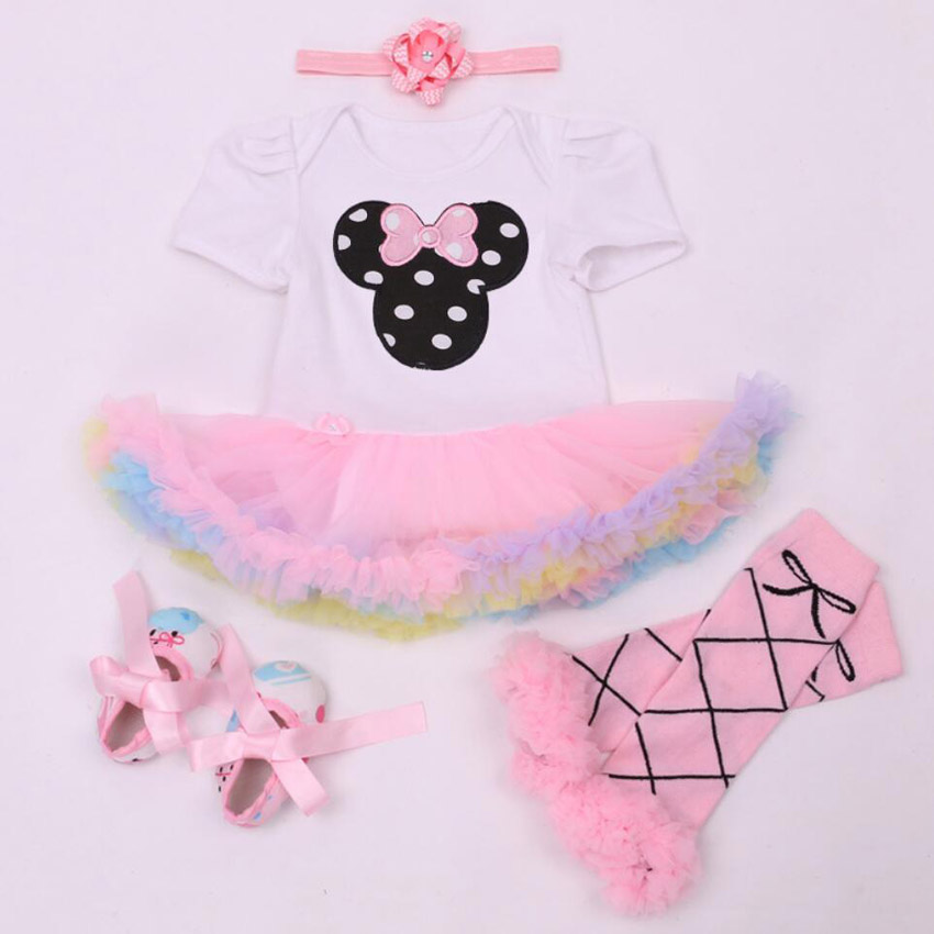 4PCs per Set Pink Cartoon Baby Girls Tutu Dress Jumpersuit Headband Shoes for 0-24Months Free Shipping