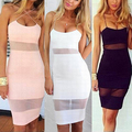 Women's Summer Sexy See Through Nightclub Sling Bodycon Knee Length Sheath Dress