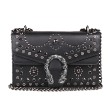 ФОТО luxury brand rivet chain casual shoulder messenger bags women leather bag gem famous designer handbag ladies flap motorcycle bag