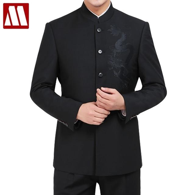 3fa432e1b € 44.3 50% de DESCUENTO|Trajes de un solo pecho para hombre bordado traje  de dragón conjuntos de moda túnica China traje de hombre Casual negro ...