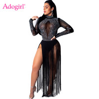 Adogirl Diamonds Sheer Mesh High Slit Tassel Maxi Dress Turtleneck Full Sleeve Long Night Club Party Dresses with Underwear