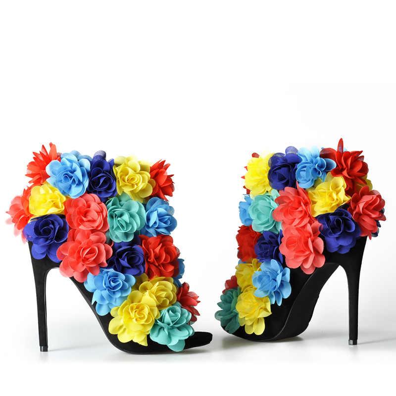 ורוד כפות ידיים 2018 החדש נשים סנדלי קיץ נעלי עקבים גבוהים עם פרחים צבעוניים סנדלי נעלי פתוח הבוהן sandalia feminina